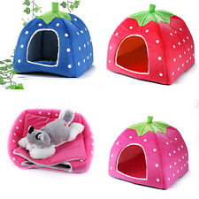 Strawberry Design Dog House For Pet Cat Dog Indoor House Mat Kennel Nest Cage