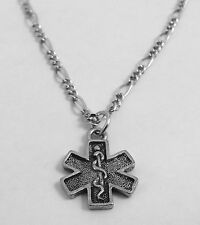 Pewter EMT Cross Pendant on a  Silver Plated Figaro Chain Necklace -5540
