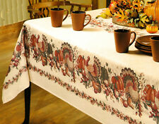 Thanksgiving Turkey Ivory  Bordered Pumpkins Leaves Fruit Fall Fabric Tablecloth