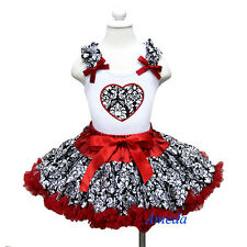 Valentine's Day Red Damask Pettiskirt Tutu Heart White Tank Top Party Dress 1-7Y