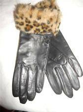 New Black Genuine Leather & Leopard Fur Cuffed Gloves