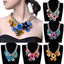 Fashion Style Gold Chain Colorized Flower Spray Paint Beads Pendnat Bib Necklace