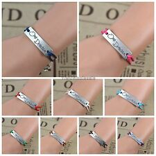 Fashion Handmade Silver Tone One Direction Charm Friendship Bracelet Gift