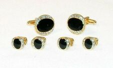 Oval Setting With Crystal Edge Tuxedo Stud and Cufflinks Set