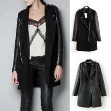 New Womens Black Quilted Faux Leather Sleeve Wool Blend Zip Trench Coat Jacket