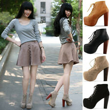 New Ladies womens heels Lita Platforms High Heels Lace Up Ankle Shoes Boots P106
