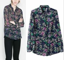 New Womens Long Sleeve Floral Print See Through Chiffon Blouse Shirt Tops S M L