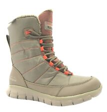 Skechers Synergy Friction Women's Taupe Lace Up Warm Lined Winter Snow Boots New