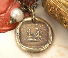 Follow Your Star ~ Cupid & Time Row Boat Bronze Necklace French Wax Seal Jewelry
