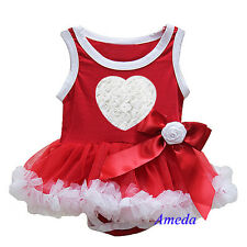 Valentine's Day Baby Red White Rosettes Heart Bodysuit Tutu Party Dress Romper