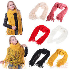 New Womens Warm Winter Fashion Circle Knit Infinity Scarf Tassel Shawl Long Cowl