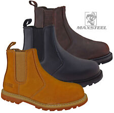 MENS SAFETY WORK STEEL TOE CAP DEALER SLIP ON LEATHER SHOES CHELSEA LADIES BOOTS
