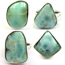 Gorgeous Genuine Larimar Silver Filled Ring Gift