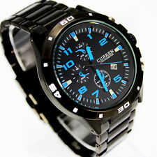 FREE SHIPPING NEW QUARTZ HOURS DATE HAND DIAL WATCHES MEN STEEL WRIST WATCH, W21