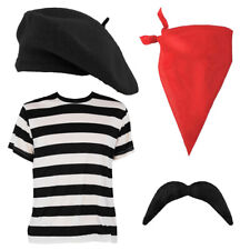 ADULTS FRENCH KIT FANCY DRESS LADIES MENS TOP+ BERET + SCARF FRANCE FRENCHMAN