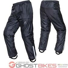 BLACK FLARE WATERPROOF MOTORCYCLE MOTORBIKE RAIN WEAR BIKE TROUSERS GHOSTBIKES