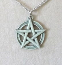 Pewter Glow-in-the-Dark Pentagram Charm on Silver Tone Link Necklace-5058