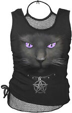 Spiral Direct Black Cat Purple Eyes Kitty Pentagram Black Mesh Vest Tshirt Top