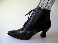 "Gorgeous 3"" Black Pointy Victorian Granny Steampunk Witch Goth Ankle Boots 6-12"