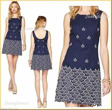 $248 Lilly Pulitzer Clarita True Navy Sailing Embroidery Wave Jacquard Dress
