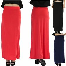 Women's Soft Comfy Polyester Stretchy Slim Fit Jersey Maxi Skirt Flared Bottom