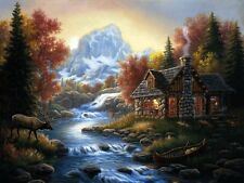 Rustic log cabin river deer mountains landscape POSTER PERSONALIZED FREE