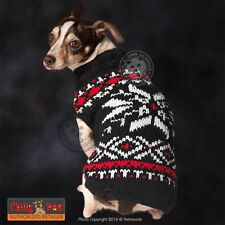 CHILLY DOG Sweater Black Nordic Snowflake Diamond for 2-120 lb Dogs - 8 sizes