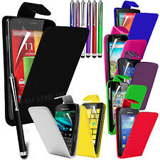Premium PU Leather Flip Case Cover Pouch, Film & Stylus Pen For Various Handsets