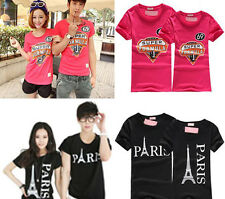 2 Piece Men and Women Fashion Cotton Couple Lovely Short Sleeve T-shirt Top New