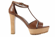 TOD'S WOMEN'S LEATHER PLATFORM SANDALS NEW BROWN  1C7