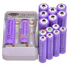 8x AA 3000mAh + 8x AAA 1800mAh Rechargeable 1.2V Ni-MH Pruple Battery +Charger