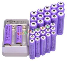 16x AA 3000mAh +16x AAA 1800mAh Rechargeable 1.2V Ni-MH Pruple Battery +Charger