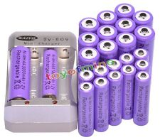 12x AA 3000mAh +12x AAA 1800mAh Rechargeable 1.2V Ni-MH Pruple Battery +Charger