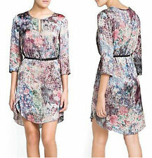 Lady Flower Oil Painting Style Print 3/4 Sleeve Loose Casual Dress S M L #FB4
