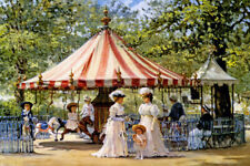 SUMMER CAROUSEL PARK MOTHERS CHILDREN PLAY FUN PAINTING BY ALAN MALEY REPRO