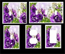 PURPLE BUTTERFLY BUTTERFLIES ROSE FLORAL  HOME DECOR  LIGHT SWITCH COVER PLATE