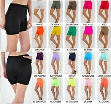 NEW SEAMLESS BASIC SOLID SPANDEX ATHLETIC SPANDEX SHORTS PLUS SIZE
