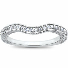 Curved Diamond Wedding Ring Antique Vintage Guard Enhancer White Gold