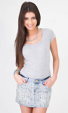 Hidden Fashion Diamante Embellished Acid Wash/Crosshatch Denim Mini Skirts