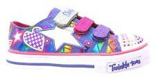 Skechers Twinkle Toes Classy Sassy Girl's Purple Light Up Canvas Trainers New