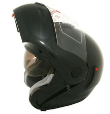 Lunatic Carbon Fiber Look Modular Helmet Flip-Up Dual Visor Sun Shield DOT