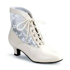 """Gorgeous 2"""" Ivory & Lace Victorian Granny Pioneer Cosplay Ankle Boots Witch 6-12"""