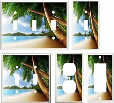 TROPICAL PALM TREE PARADISE BEACH 2  IMAGE  LIGHT SWITCH COVER PLATE U PICK SIZE