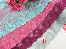 "7""*1yard delicate double adge embroidered flower tulle lace trim for DIY"