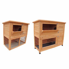 FoxHunter 2 Tier Wooden Rabbit Guinea Pig Hutch Wood Pet Run House With Cover