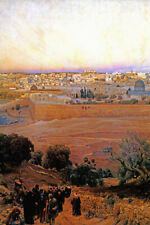JERUSALEM FROM THE MOUNT OF OLIVES 1902 PAINTING BY GUSTAV BAUERNFEIND REPRO