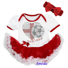 Baby White Red World Cup England Flag Heart Football Bodysuit Tutu Party Dress