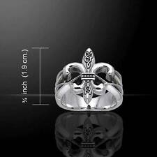 Fleur De Lis Royal French Sterling Silver Ring - with a celtic knotwork twist