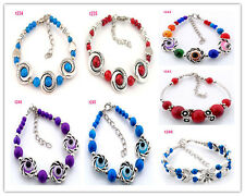 Free shipping 1pc Handmade fashion Tibetan silver beaded Design charm bracelet