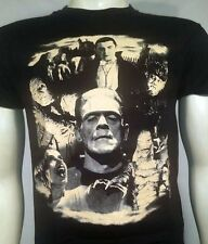 UNIVERSAL MONSTERS COLLAGE DRACULA FRANKENSTEIN WOLFMAN HORROR T TEE SHIRT S-2XL